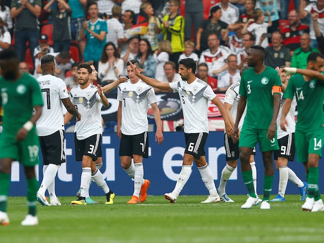 Germany's players celebrate after scoring during their World Cup warm-up match against Saudi Arabia on June 8, 2018