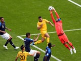 Hugo Lloris makes a save during the World Cup group game between France and Australia on June 16, 2018