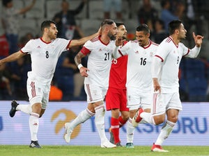 Iran celebrate during an international friendly with Turkey in May 2018