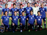 The Japan team line up before their friendly game with Switzerland on June 8, 2018