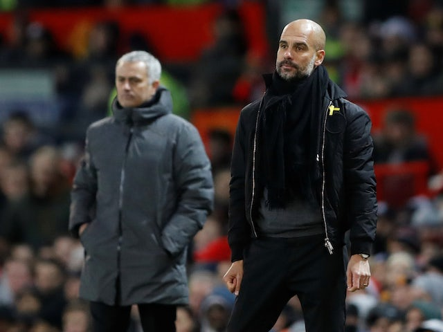 Jose Mourinho and Pep Guardiola during the Manchester derby on December 10, 2017