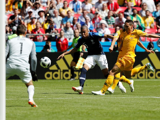 Kylian Mbappe has a shot at goal during the World Cup group game between France and Australia on June 16, 2018
