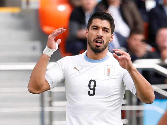 Luis Suarez in action during the World Cup game between Egypt and Uruguay on June 15, 2018