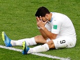 Luis Suarez reacts to a missed chance during the World Cup game between Egypt and Uruguay on June 15, 2018