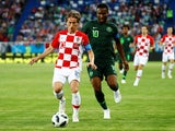 Croatia's Luka Modric in action with Nigeria's John Obi Mikel during the World Cup group-stage match on June 16, 2018