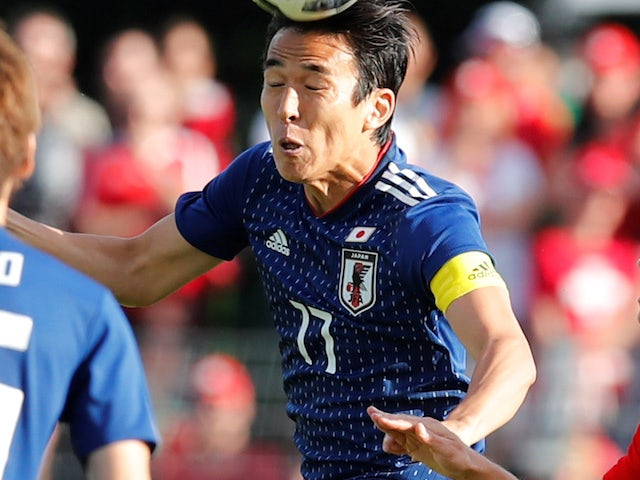 Makoto Hasebe in action for Japan on June 8, 2018
