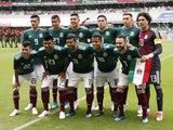 The Mexico team line up before their friendly game with Scotland on June 2, 2018