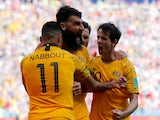 Mile Jedinak celebrates equalising from the spot during the World Cup group game between France and Australia on June 16, 2018