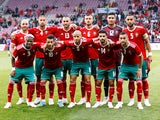 The Morocco team lines up ahead of an international friendly with Ukraine in June 2018