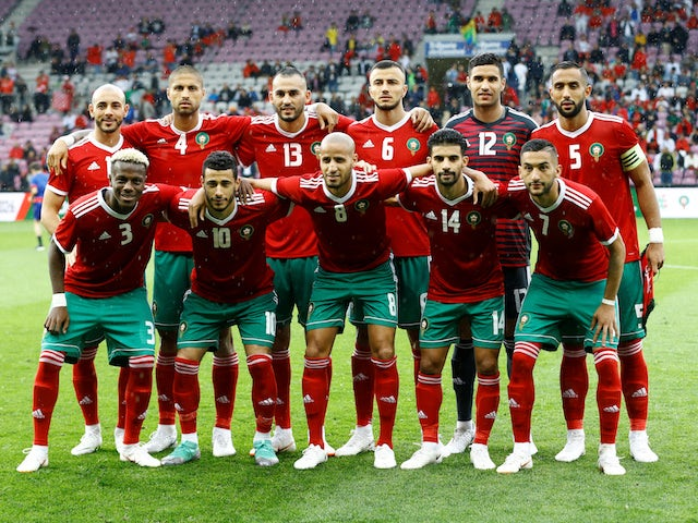 2e13a7dc914 The Morocco team lines up ahead of an international friendly with Ukraine  in June 2018