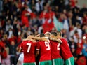 Morocco players celebrate after scoring during an international friendly with Slovakia in June 2018