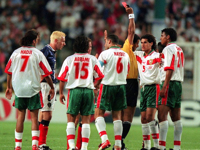 Morocco players in action against Scotland during the 1998 World Cup
