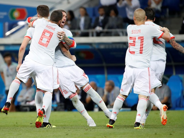 Nacho celebrates after putting his side in front during the World Cup group game between Portugal and Spain on June 15, 2018