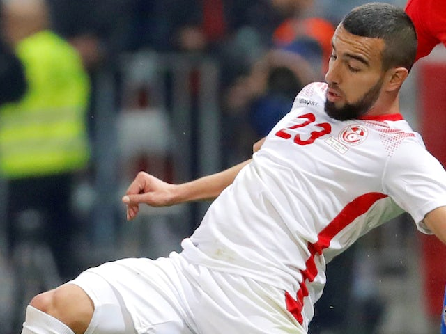 Naim Sliti in action for Tunisia on March 27, 2018