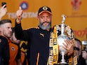 Wolverhampton Wanderers manager Nuno Espirito Santo celebrates winning the Championship title on May 7, 2018