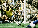 Pele wheels away in celebration after scoring in the 1970 World Cup final against Italy