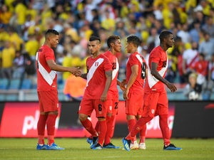 Peru players in action during an international friendly with Sweden on June 9, 2018