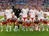 The Poland team line up before their friendly game with Chile on June 8, 2018