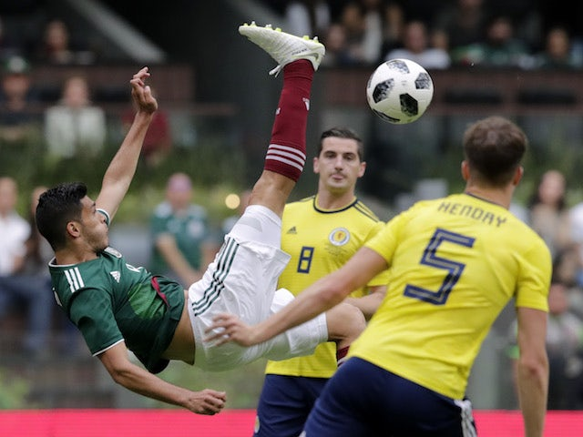 Mexico's Raul Jimenez in action during his side's international friendly with Scotland in June 2018