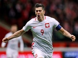Robert Lewandowski in action for Poland on October 8, 2017