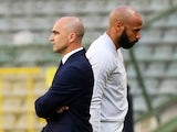 Belgium coach Roberto Martinez and assistant Thierry Henry during the friendly against Costa Rica on June 11, 2018