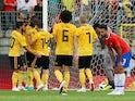 Belgium's Romelu Lukaku celebrates scoring their second goal in the friendly against Costa Rica on June 11, 2018