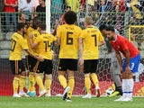 Belgium's Romelu Lukaku celebrates scoring their second goal in the friendly against Costa Rica on June 11, 2018