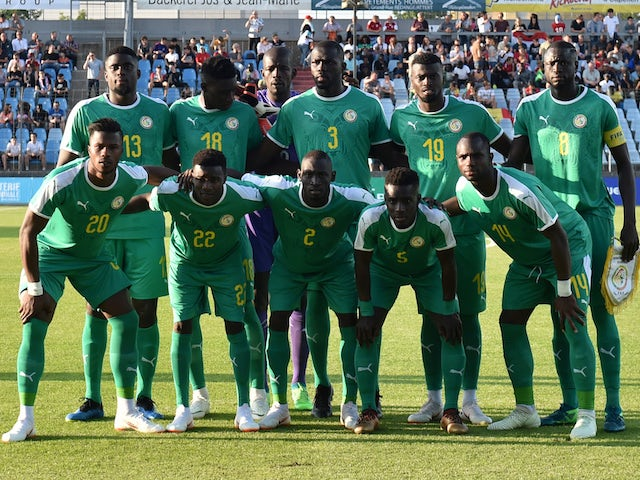 The Senegal team line up before their friendly game with Luxembourg on May 31, 2018