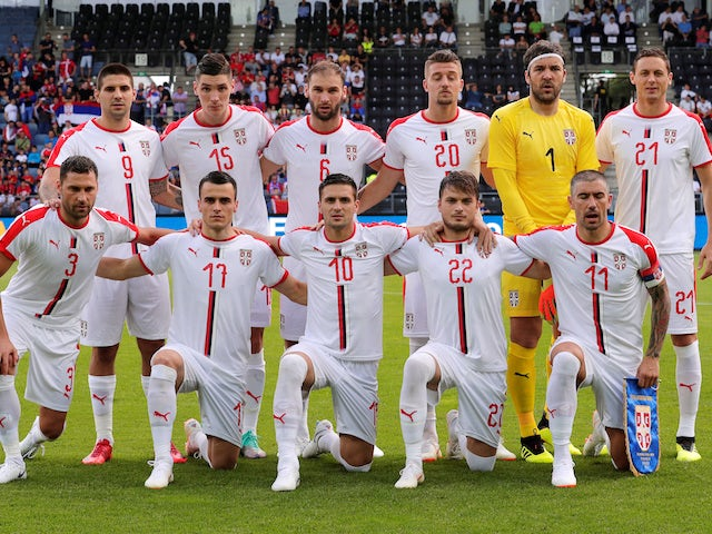 The Serbia team line up before their friendly game with Bolivia on June 9, 2018