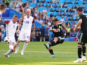 Sergio Aguero scores the opener during the World Cup group game between Argentina and Iceland on June 16, 2018