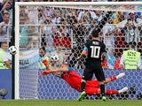 Sergio Aguero misses a penalty during the World Cup group game between Argentina and Iceland on June 16, 2018
