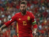 Sergio Ramos in action for Spain on September 2, 2017