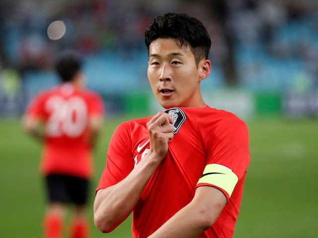 Son Heung-min in action for South Korea on May 28, 2018