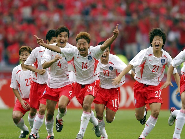 South Korea's players celebrate after beating Spain on penalties at the 2002 World Cup