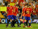 Spain's players celebrate qualifying for the 2018 World Cup with victory over Albania in October 2017