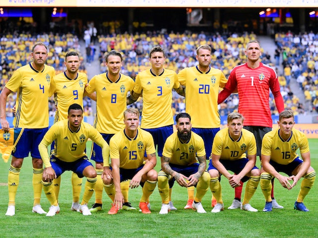 The Sweden team line up before their friendly game with Denmark on June 2, 2018