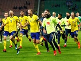 Sweden players celebrate qualifying for the 2018 World Cup courtesy of beating Italy in November 2018
