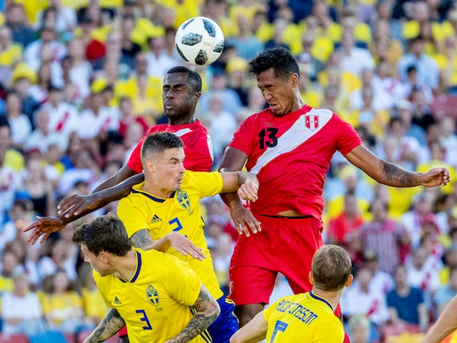 Sweden in action during the international friendly with Peru in June 2018