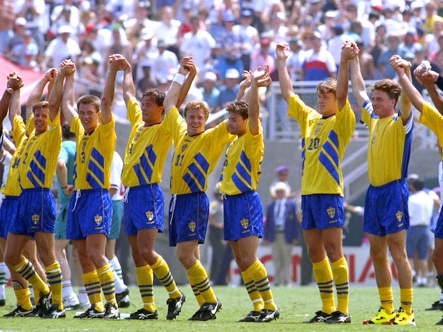 Sweden's players celebrate after the third-placed playoff at the 1994 World Cup