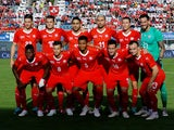 The Switzerland team line up before their friendly with Japan on June 8, 2018