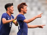 Takashi Inui celebrates scoring during the international friendly between Japan and Paraguay on June 12, 2018
