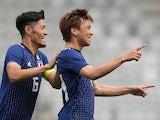 Takashi Inui celebrates scoring during the international friendly between Japan and Paraguay on June 12, 2018