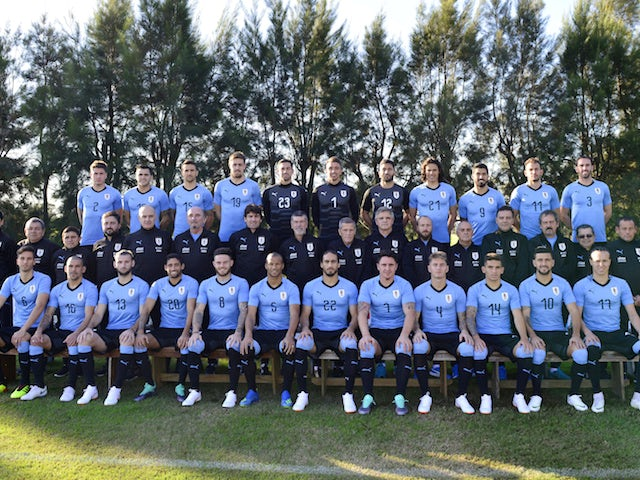 The Uruguay squad lines up for their official photo shoot ahead of the 2018 World Cup in Russia
