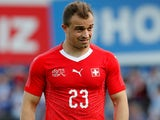Xherdan Shaqiri in action for Switzerland on June 8, 2018