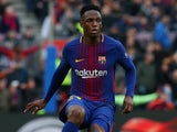 Yerry Mina in action for Barcelona on February 11, 2018