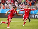 Yussuf Poulsen celebrates scoring during the World Cup group game between Peru and Denmark on June 16, 2018
