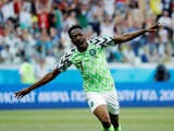 Nigeria's Ahmed Musa celebrates scoring their second goal against Iceland on June 22, 2018