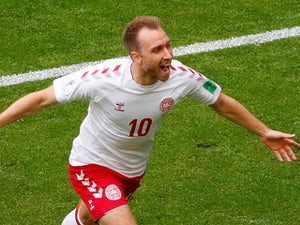 Christian Eriksen celebrates scoring during the World Cup group game between Denmark and Australia on June 21, 2018