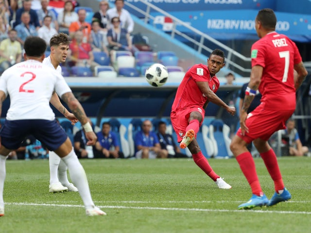 Panama's Edgar Barcenas shoots at goal in the match against England on June 24, 2018
