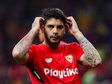 Sevilla's Ever Banega during the warm-up before the Copa del Rey final against Barcelona on April 21, 2018